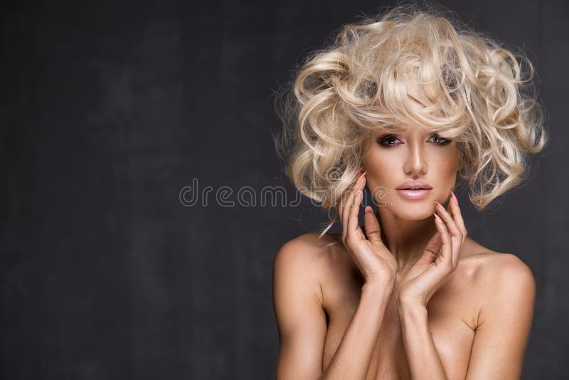 woman with blond hair. stock images