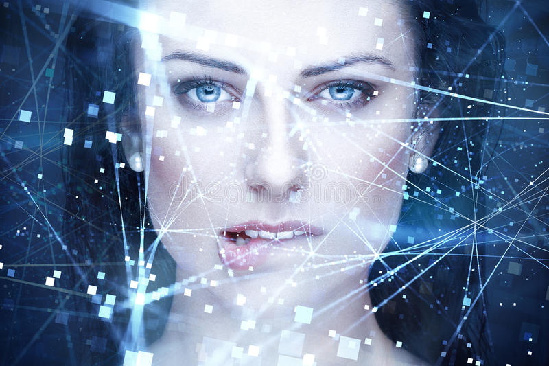 woman artificial intelligence with connections bite lips stock photos
