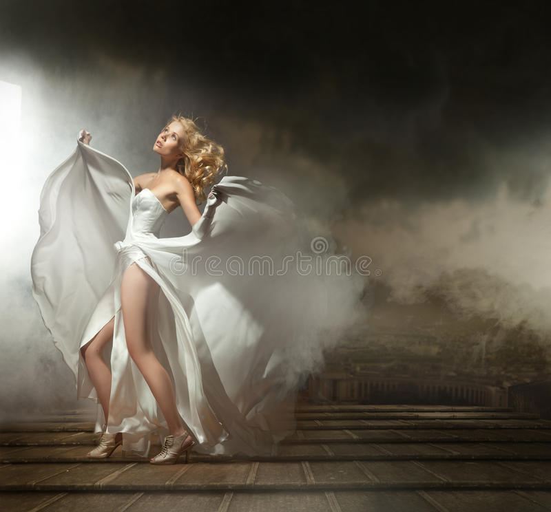 Download Woman in beautiful dress stock photo. Image of clouds - 19828552