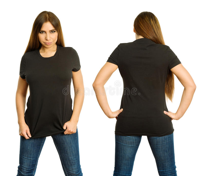 woman with blank black shirt and serious stare stock image