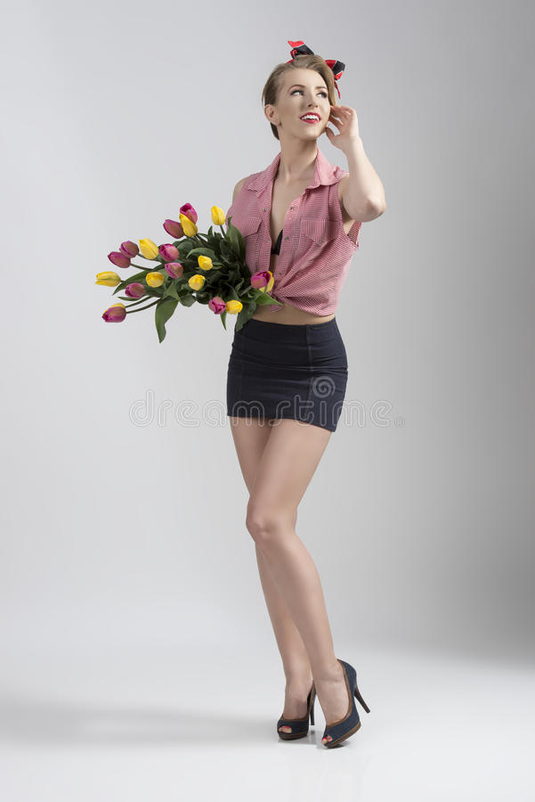 Download Woman With Bouquet Of Tulips Stock Photo - Image: 33532632