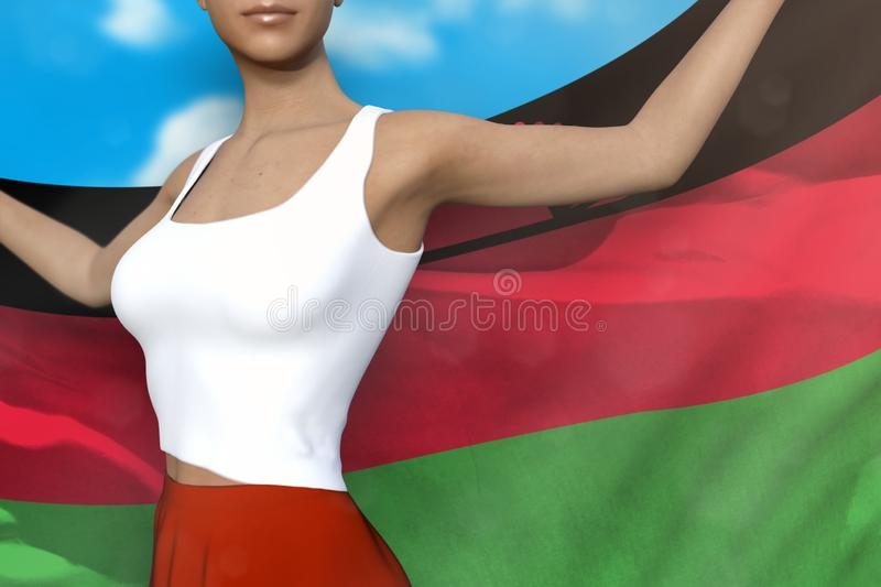 Beautiful lady in bright skirt holds Malawi flag in hands behind her back on the cloudy sky background - flag concept 3d. Sexy woman in bright skirt is holding stock illustration