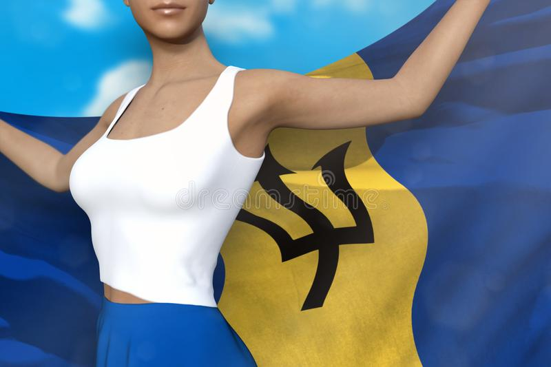 Woman in bright skirt holds Barbados flag in hands behind her back on the cloudy sky background - flag concept 3d. Woman in bright skirt is holding Barbados flag royalty free illustration