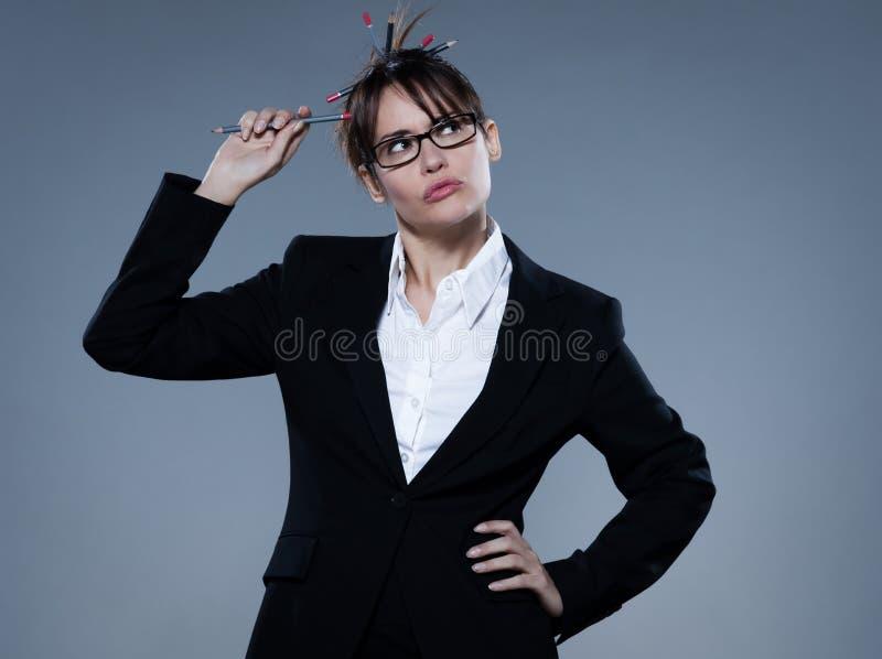 Sexy woman business secretary thinking