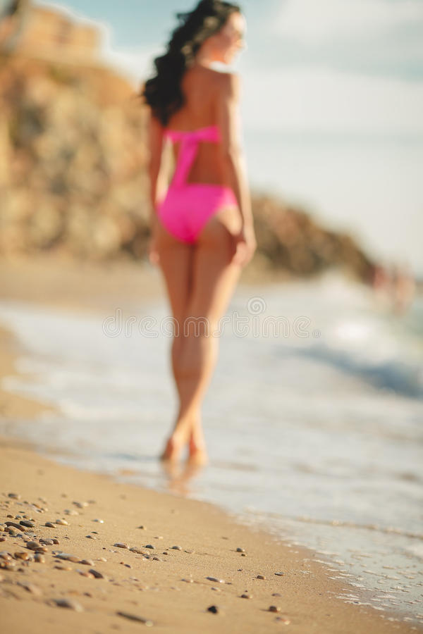 woman buttocks on the beach background stock image