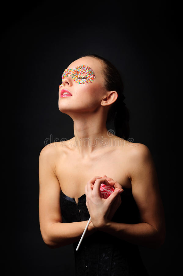 Download Woman with candy mask stock image. Image of beautiful - 23731599