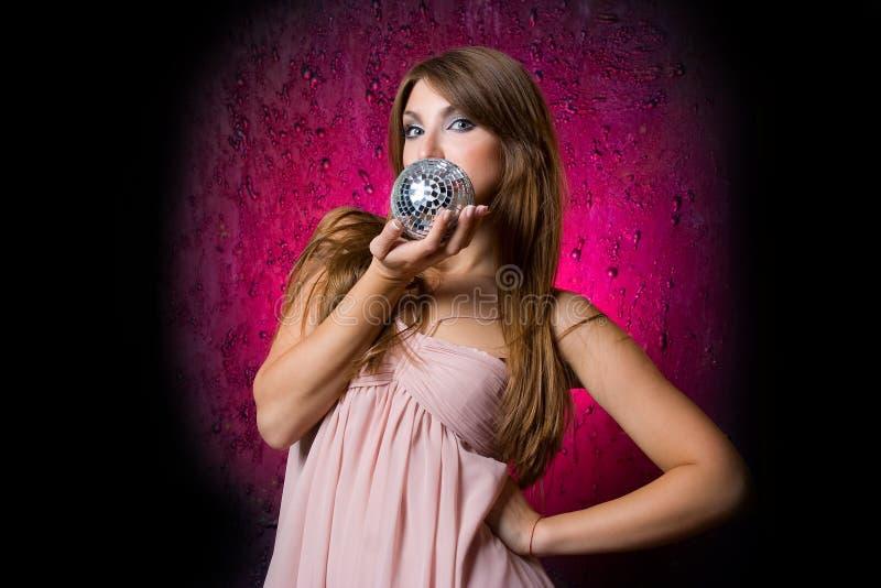 woman with disco ball royalty free stock photos