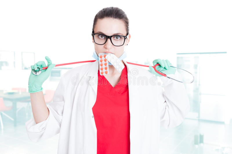 woman doctor with stethoscope stock images