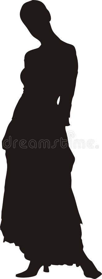 woman in dress silhouette vector illustration