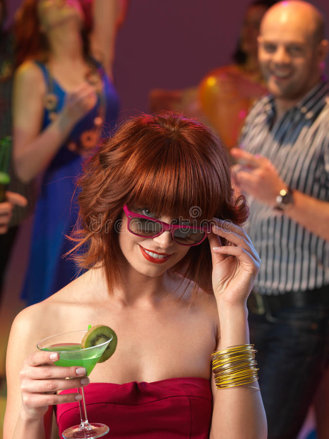 Download Woman Drinking Cocktail In Night Club Stock Image - Image of dance, jokey: 27161027