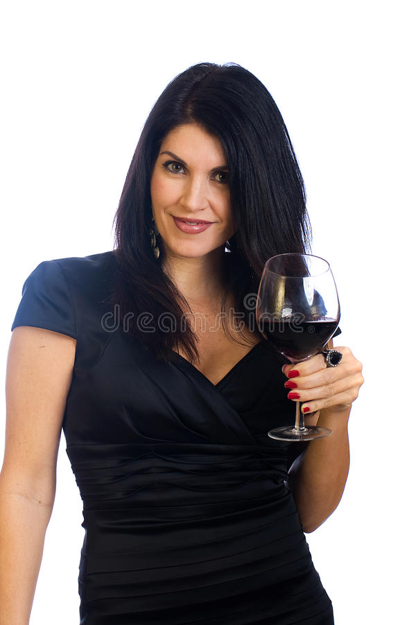 woman drinking a glass of wine stock image