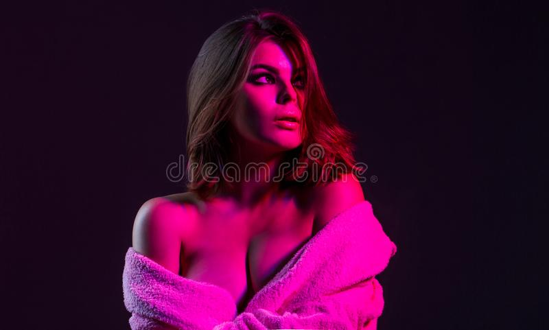 Sexy woman in erotic. Sensual girl, boobs. Woman with large breasts. Erotic topless. Woman in a bathrobe with great. Boobs. Sexy girl, big boobs, topless royalty free stock photography