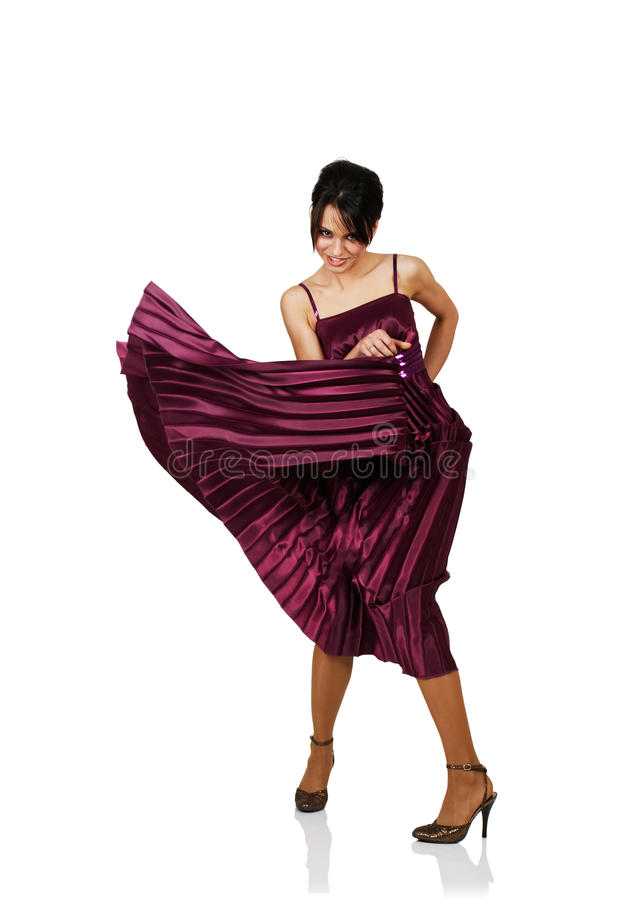 woman with flying elegant dress stock image
