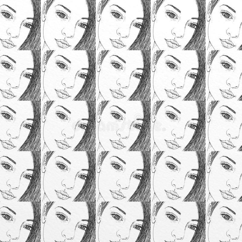 Woman`s face, gift card or cloth, pattern, repeating pattern, fashion royalty free illustration
