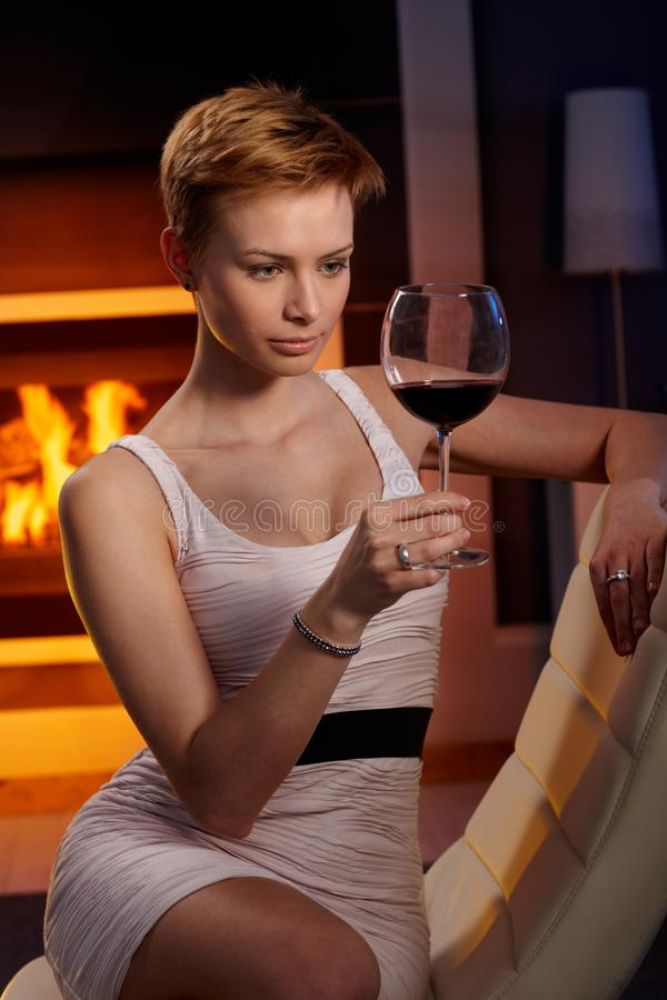 Woman with a glass of wine stock image. Image of alone ...