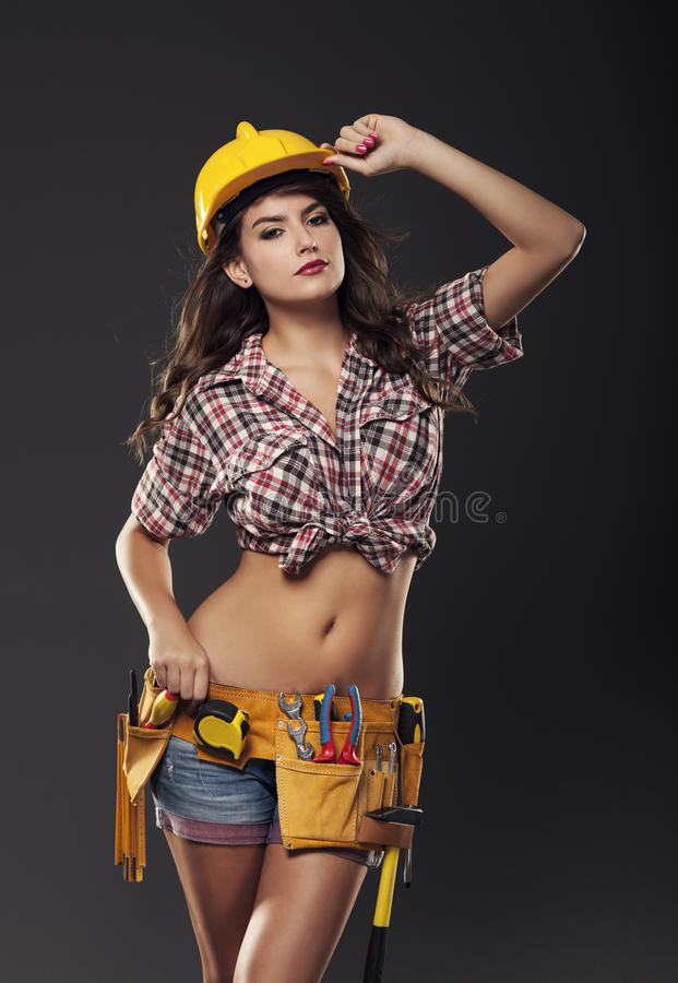 woman with hardhat royalty free stock photos