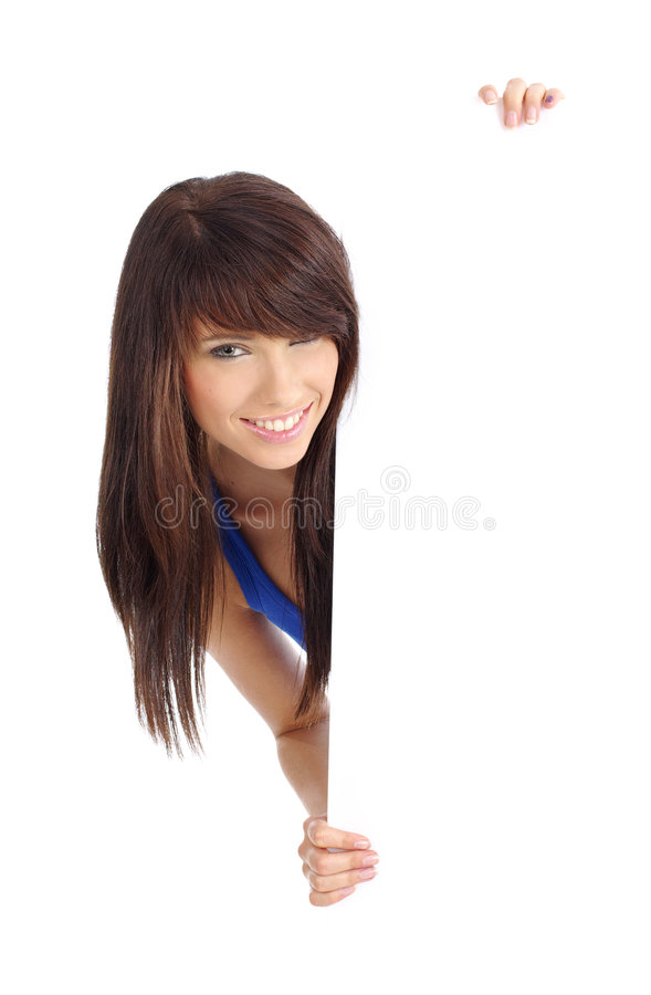 Download Woman Holding  Billboard Stock Photo - Image: 6503820