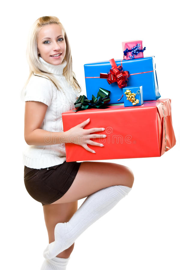 woman holding christmas-box stock image