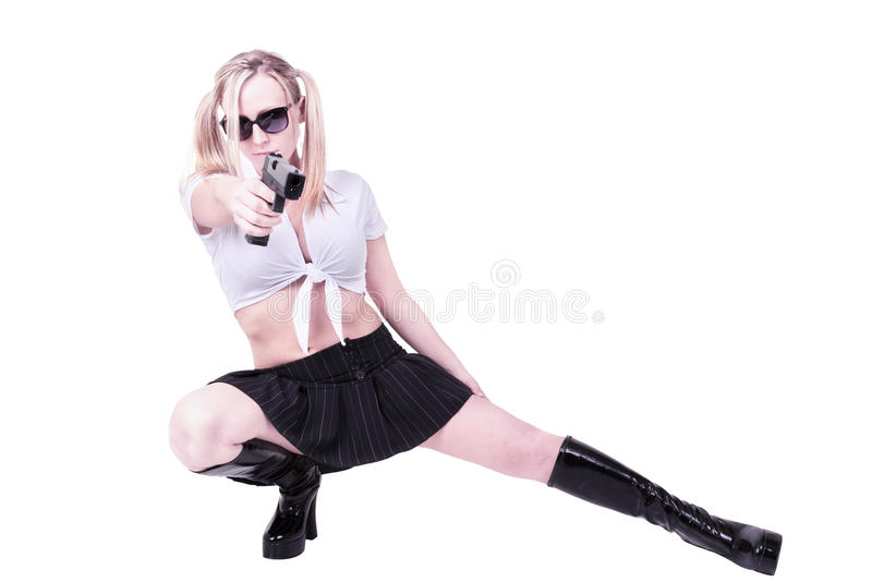 woman holding gun stock image