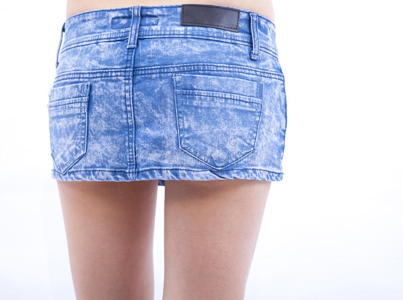 Woman And Jeans Skirt Royalty Free Stock Photos