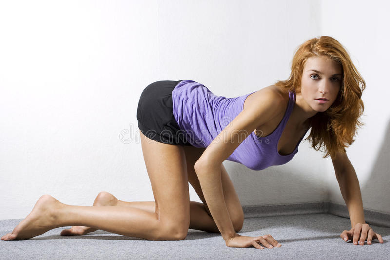 Download Woman kneeling on floor stock photo. Image of fresh, beautiful - 15428042