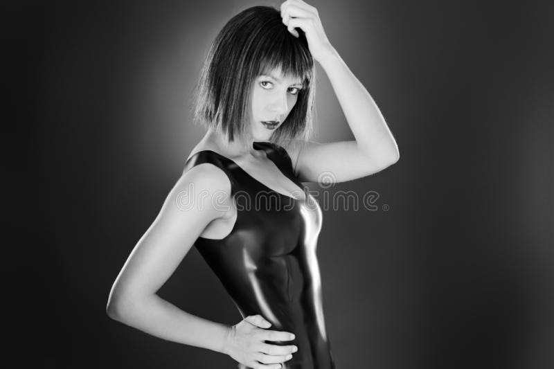 woman in latex royalty free stock image