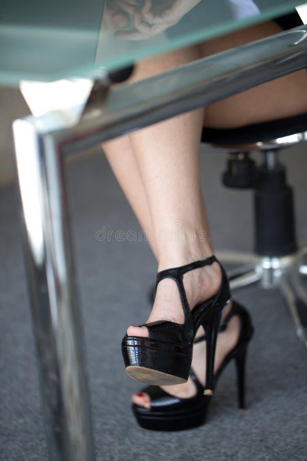 Woman Legs Under Desk Stock Image Image Of Seduction