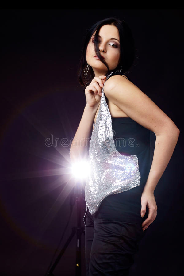 woman and lights royalty free stock photography