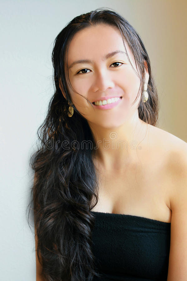 woman with long black hair royalty free stock photography