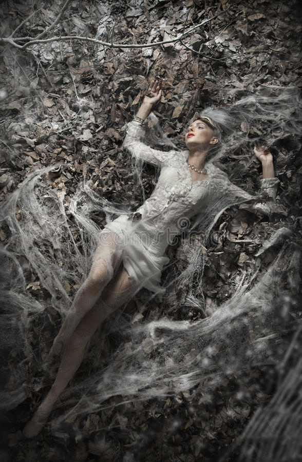woman lying on leaves royalty free stock images
