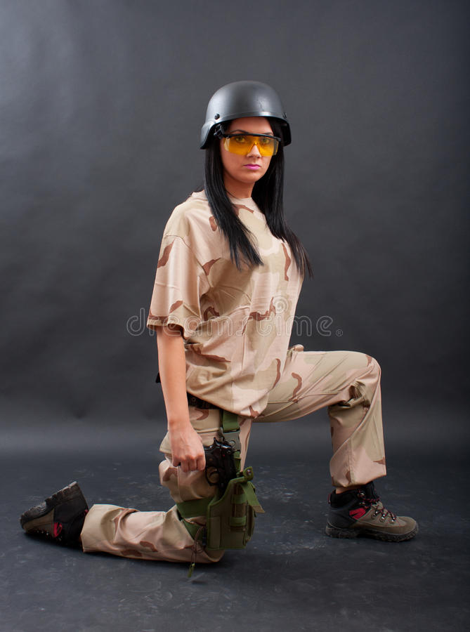 Download Woman in military outfit stock photo. Image of young - 16117992