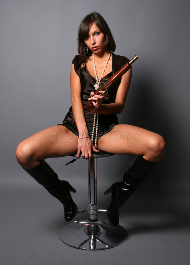 woman with a musket stock image
