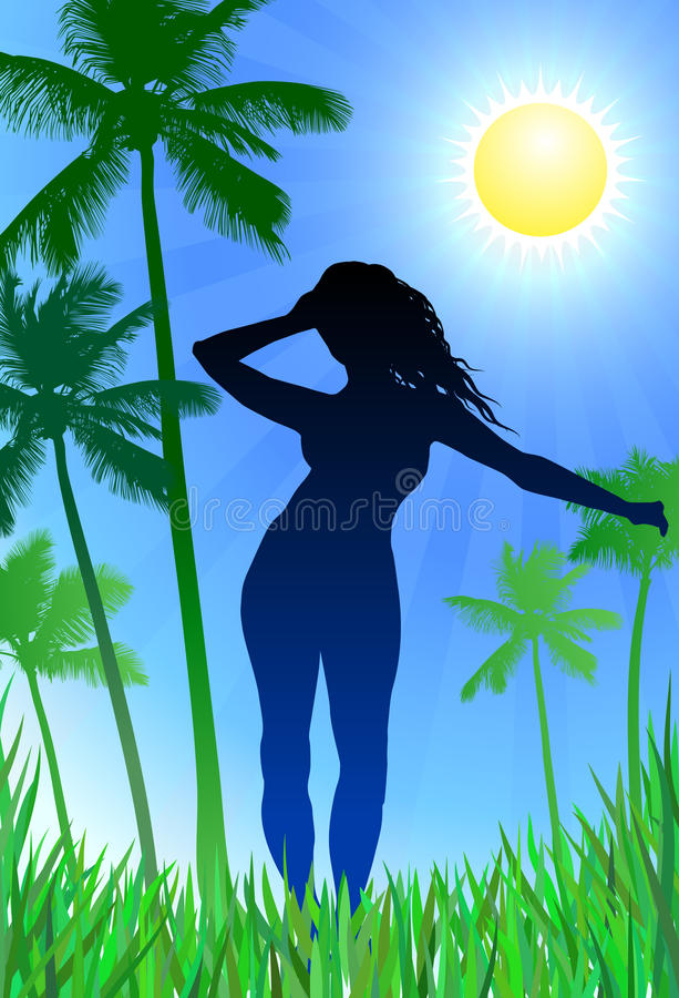 Download Woman on nature background stock illustration. Image of nature - 12378847