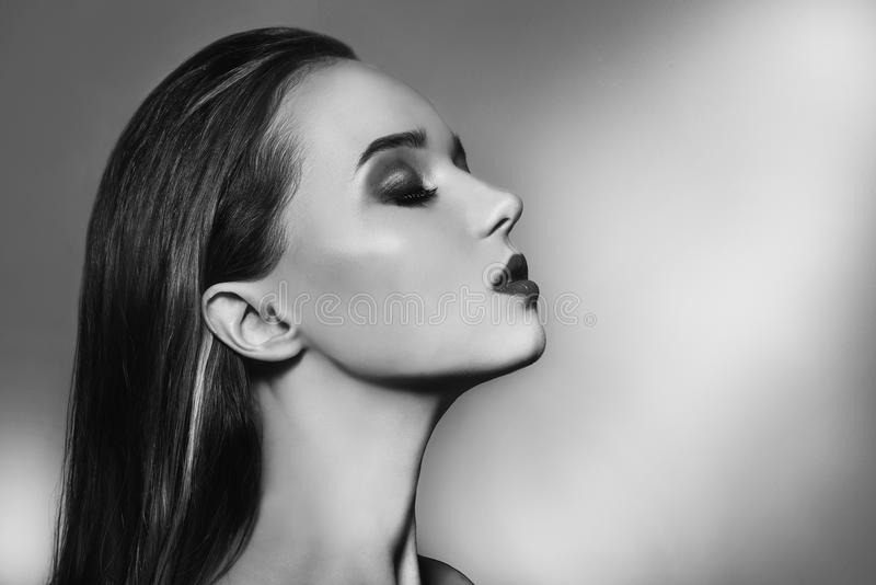 woman portrait with perfect makeup. Beauty Fashion model girl black and white portrait. Close up portrait of elegant luxuri stock photo