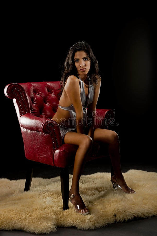 Download Woman in red chair stock photo. Image of black, american - 29293566