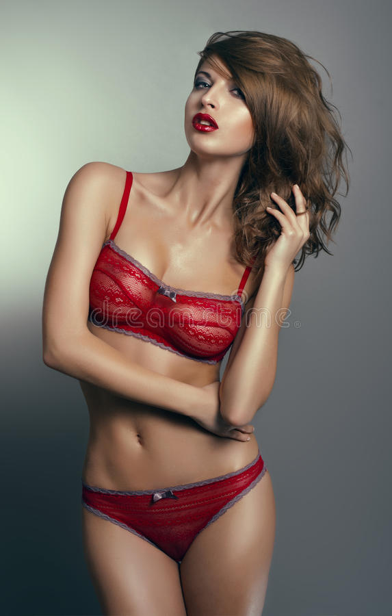 Woman In Red Lingerie Royalty Free Stock Photo