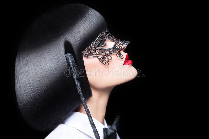 woman with red lips mask and whip bdsm royalty free stock images