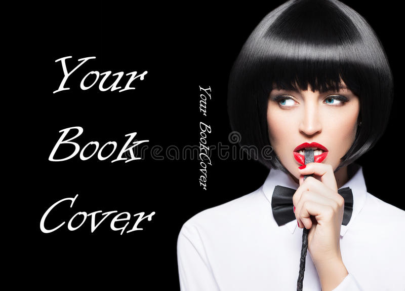 Woman with red lips in wig bite whip portrait book cover. Woman with red lips in wig bite whip portrait, bdsm, on black, book cover template stock image