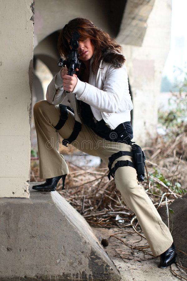 woman with rifle royalty free stock image