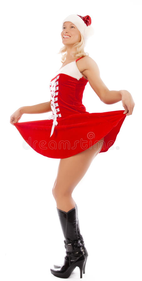 woman in santa clothes royalty free stock photography