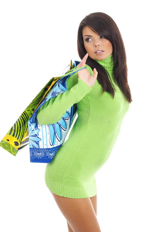 woman with shopping bag royalty free stock photos