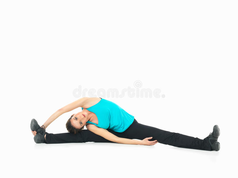 woman showing fitness moves, white background stock photos