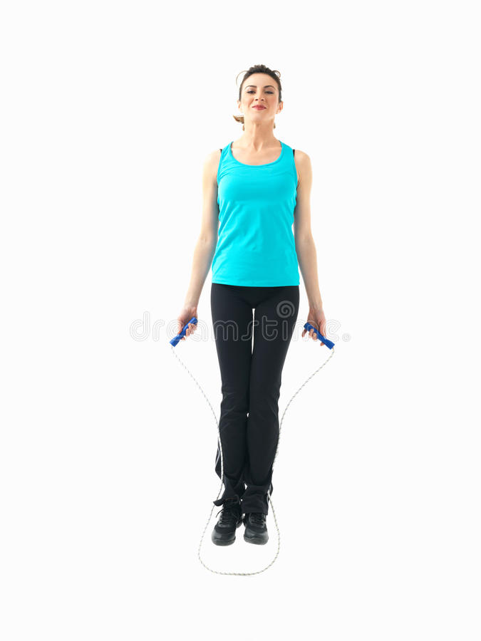 woman showing fitness moves, white background stock photo