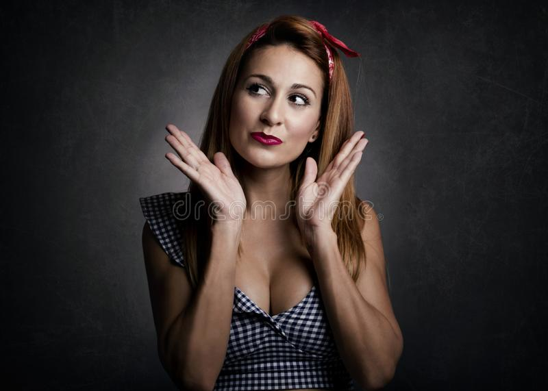 Woman smiling. On black background royalty free stock photos