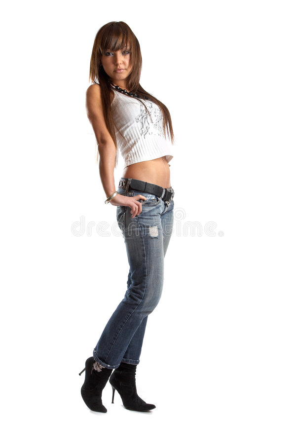 Woman in studio. Young woman over white background - Fashion session stock image