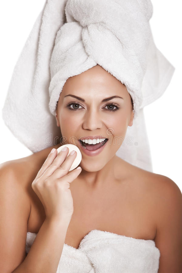 Woman Wiping Face Stock Photography