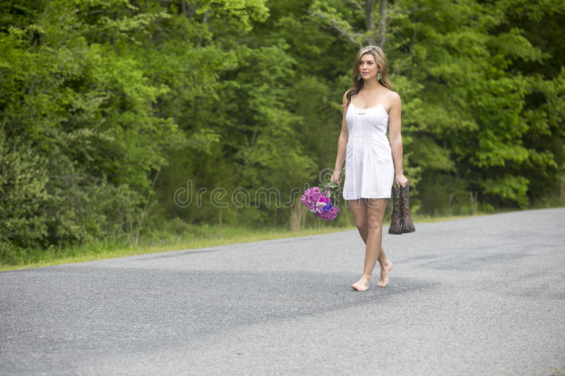 Lady Walking In Road Nude Stock Photos and Pictures