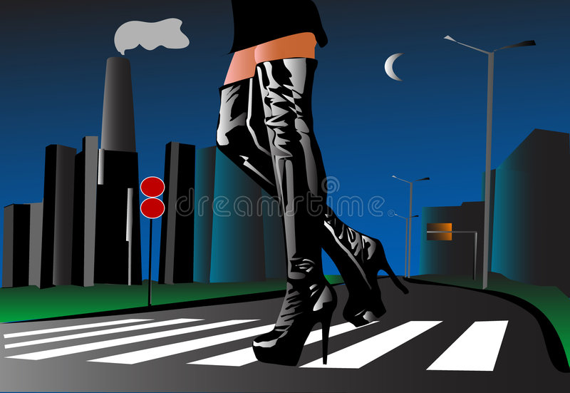 Woman walking in the street. Woman dressed bondage walking in the street royalty free illustration