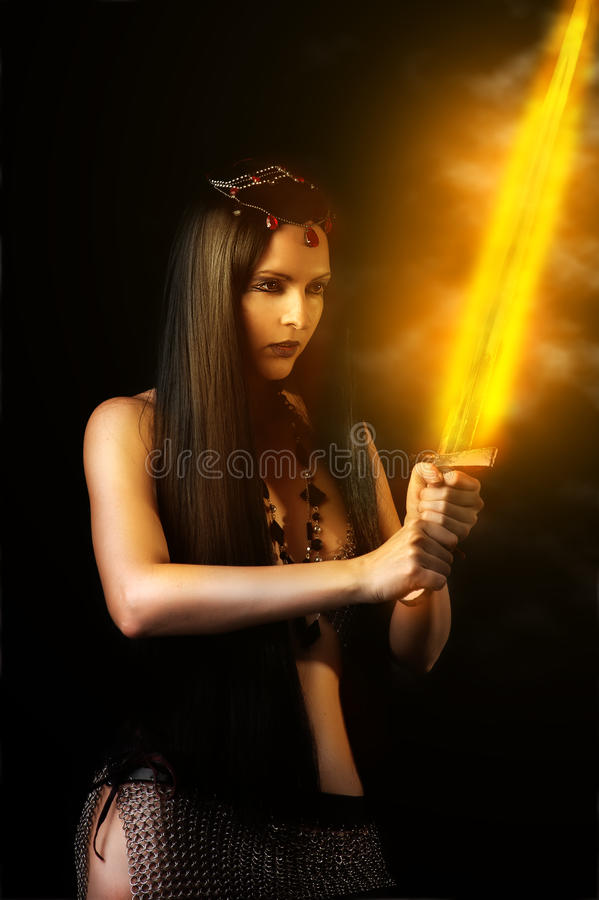 Download Woman Warrior With Fire Sword Stock Image - Image of female, creative: 29255823