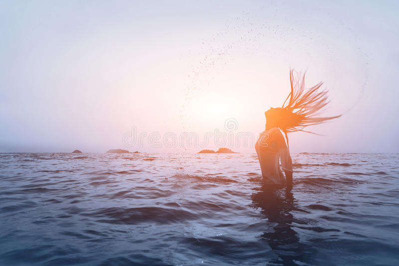 woman in the water royalty free stock photos